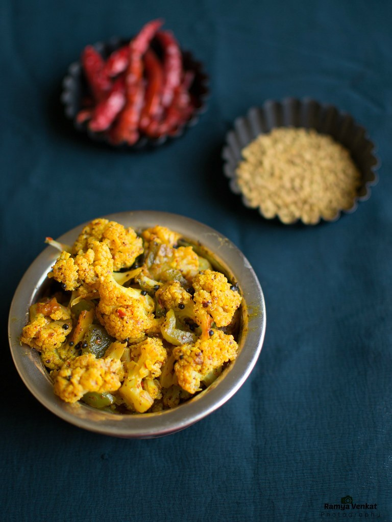 achari gobhi recipe - cauliflower curry