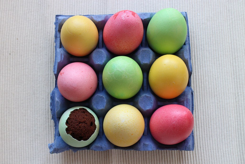 Chocolate Cake… Baked In Coloured Egg Shells