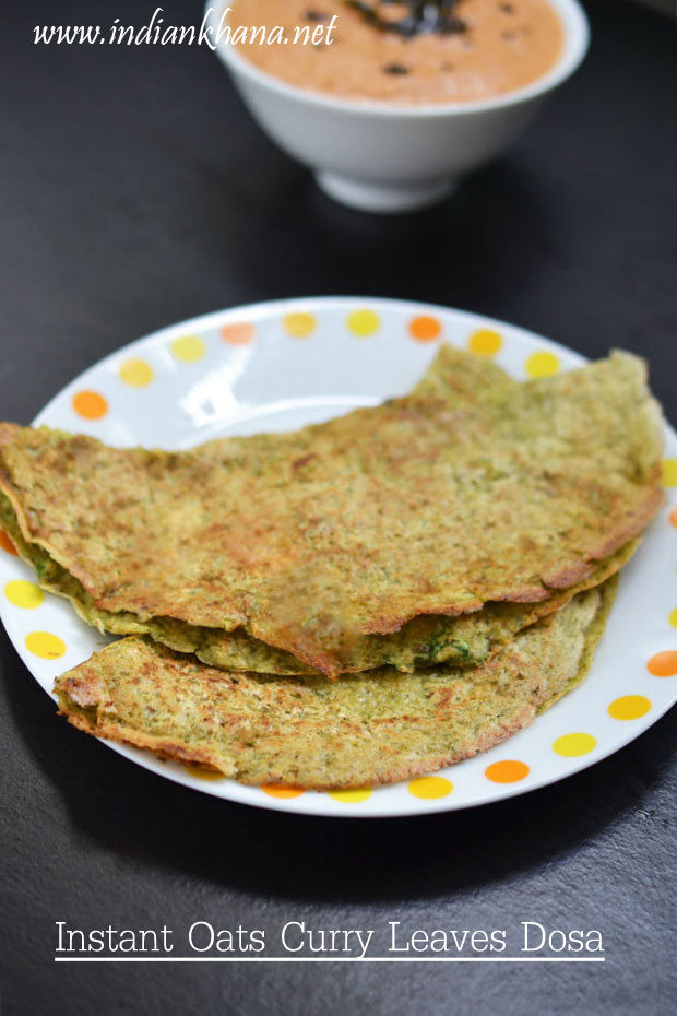Instant Oats Curry Leaves Dosa | Oats Dosa Recipe