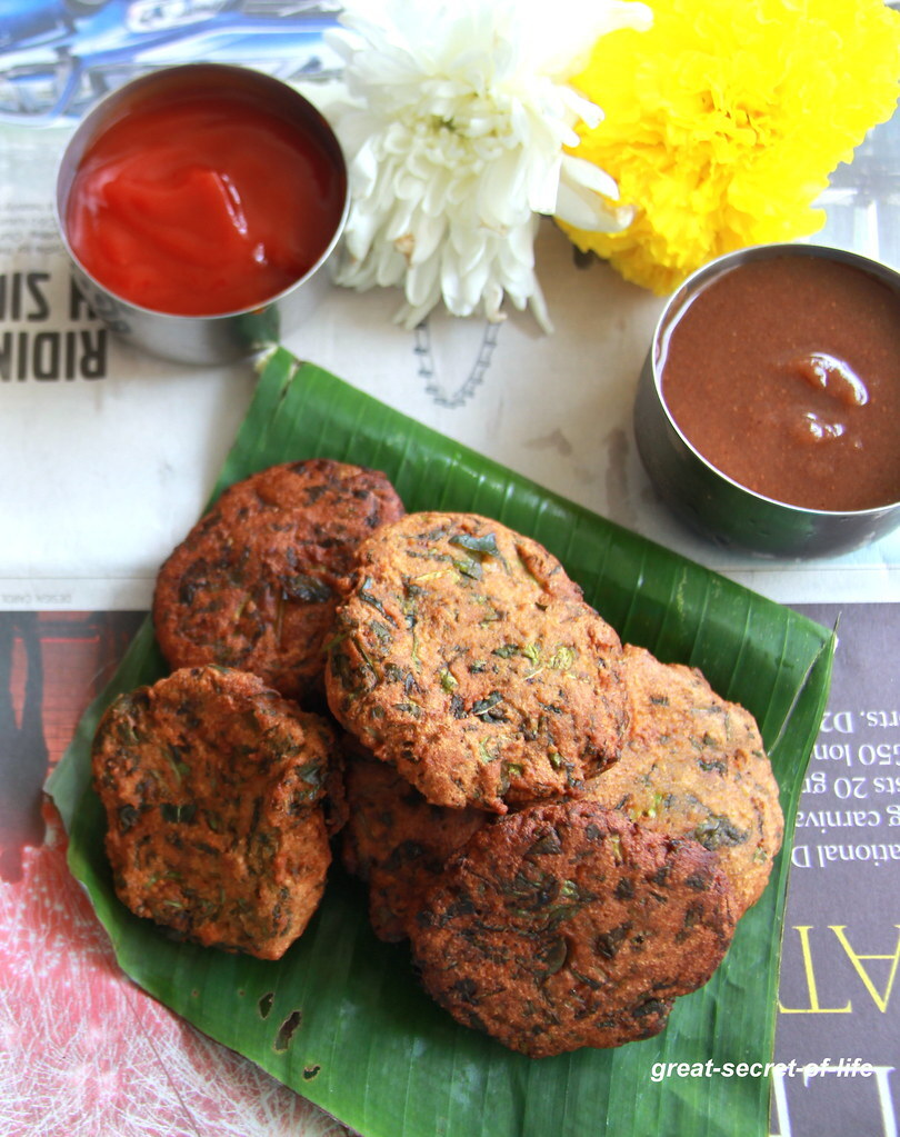 Palak Moong dal Vada - Palak Moong dhal snack - Spinach Moong dal Vada - Spinach Moong Dal Pakora - Snack recipe - Naivedyam Recipes - Pooja Recipe - Festival recipes - Navaratri Recipes