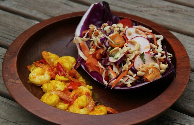 Burmese Chilli Prawns with Hot & Sour Asian Slaw - Salad Days # 8