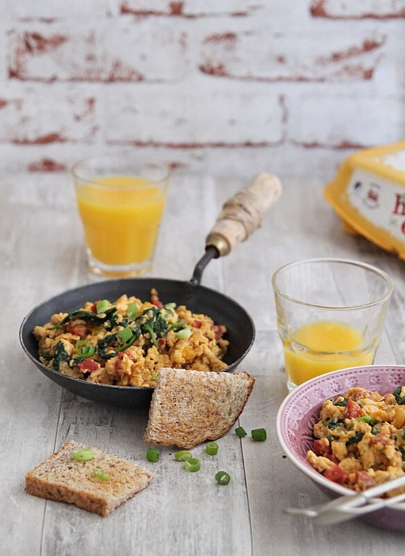 Spanish scrambled eggs with spinach and chorizo