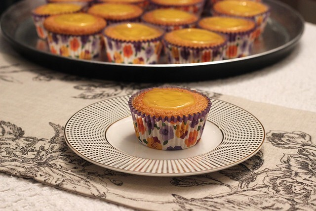 Orange polenta muffins with lemon and violet curd (GF)