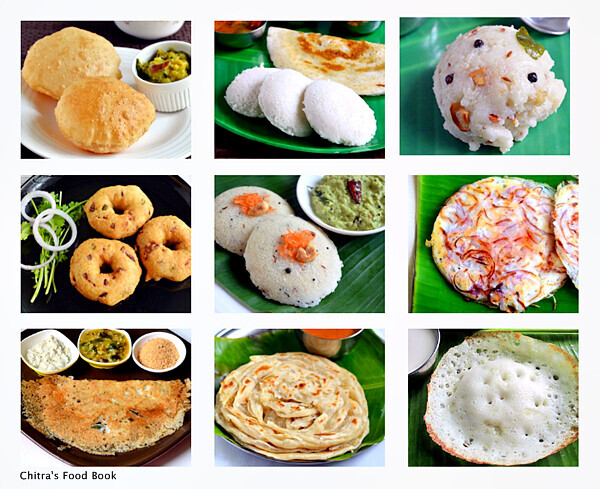 12 South Indian Breakfast Recipes-Tiffin Varieties