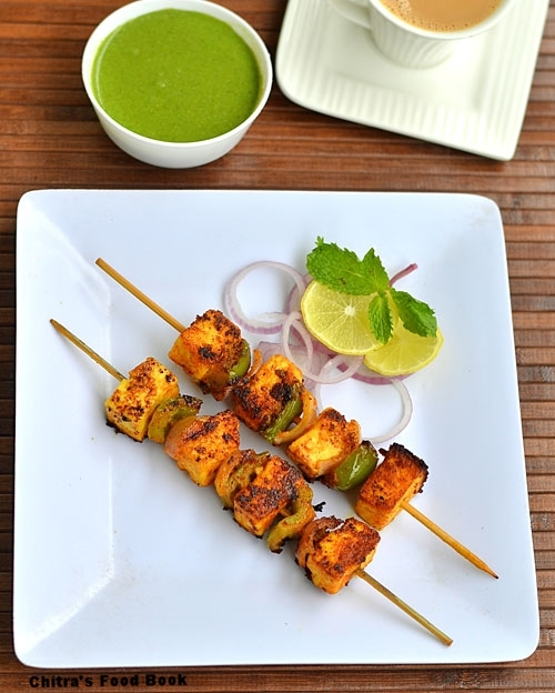 Paneer Tikka Recipe in Tawa &Green Chutney-Stove Top Version
