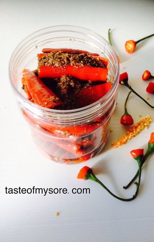 Stuffed Red Chili Pickle ~ Bharwa Mirchi Ka Achar