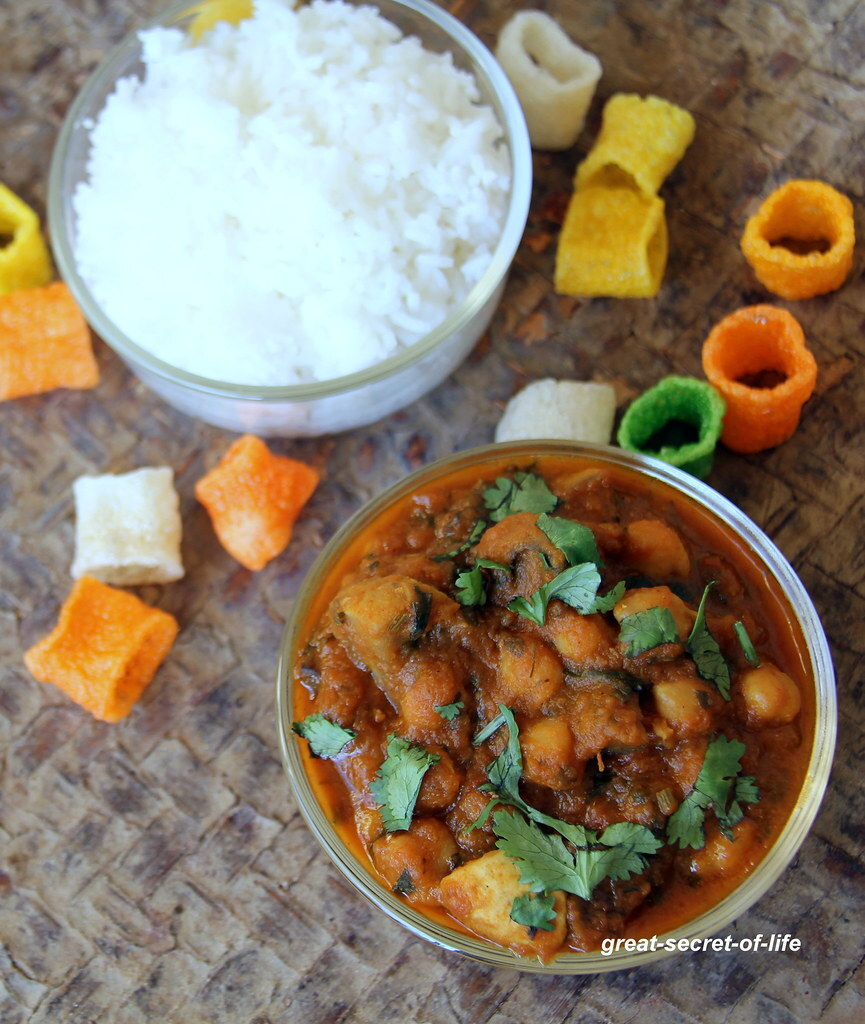 Mushroom chana masala - Chana mushroom masala - Dhingri chana masala -  Dhingri Chole - Vegetarian gravy recipe - Side dish recipe