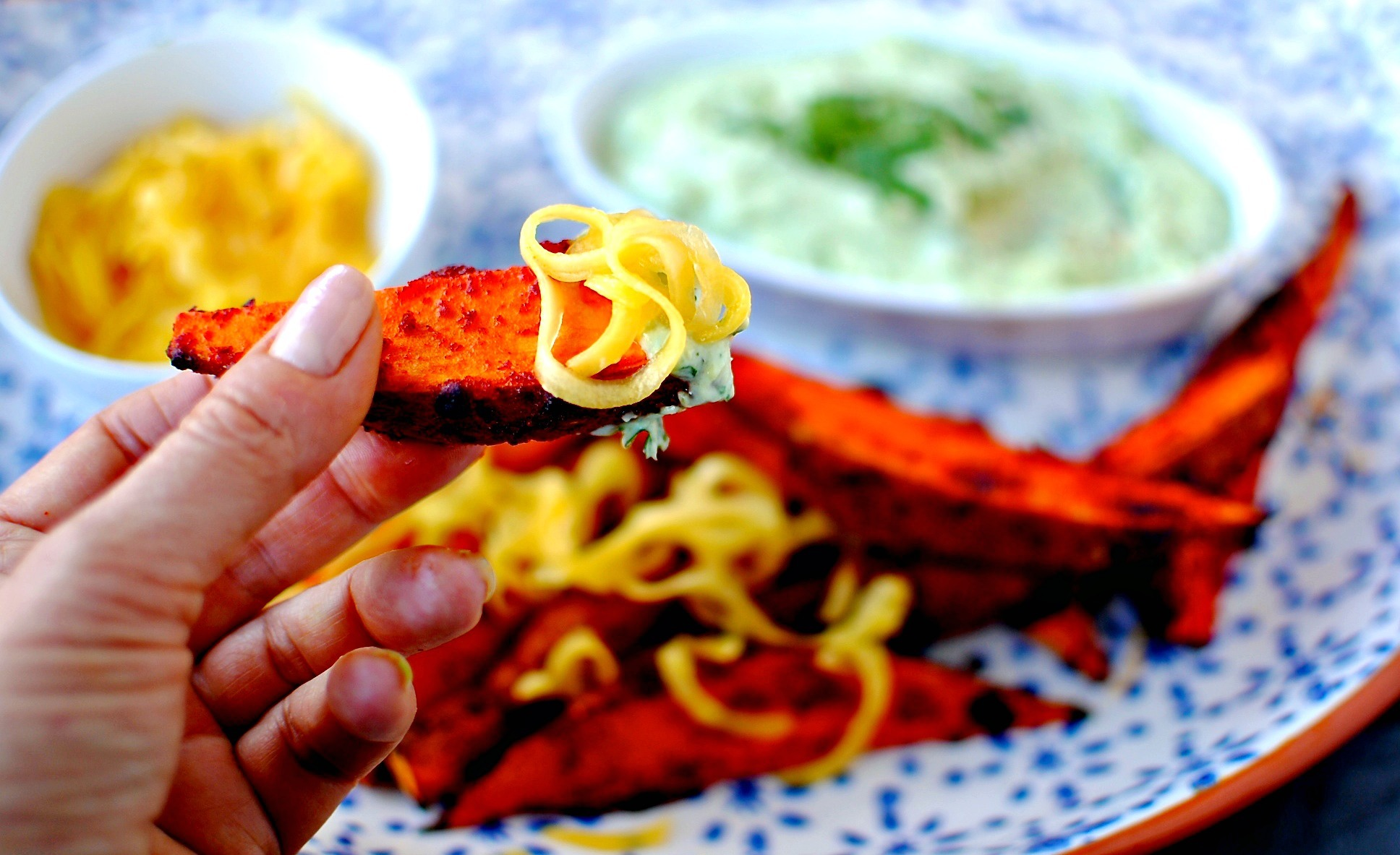 Korean Sweet Potato Wedges with Quick Pickled Mango + Avocado-Lime Dip