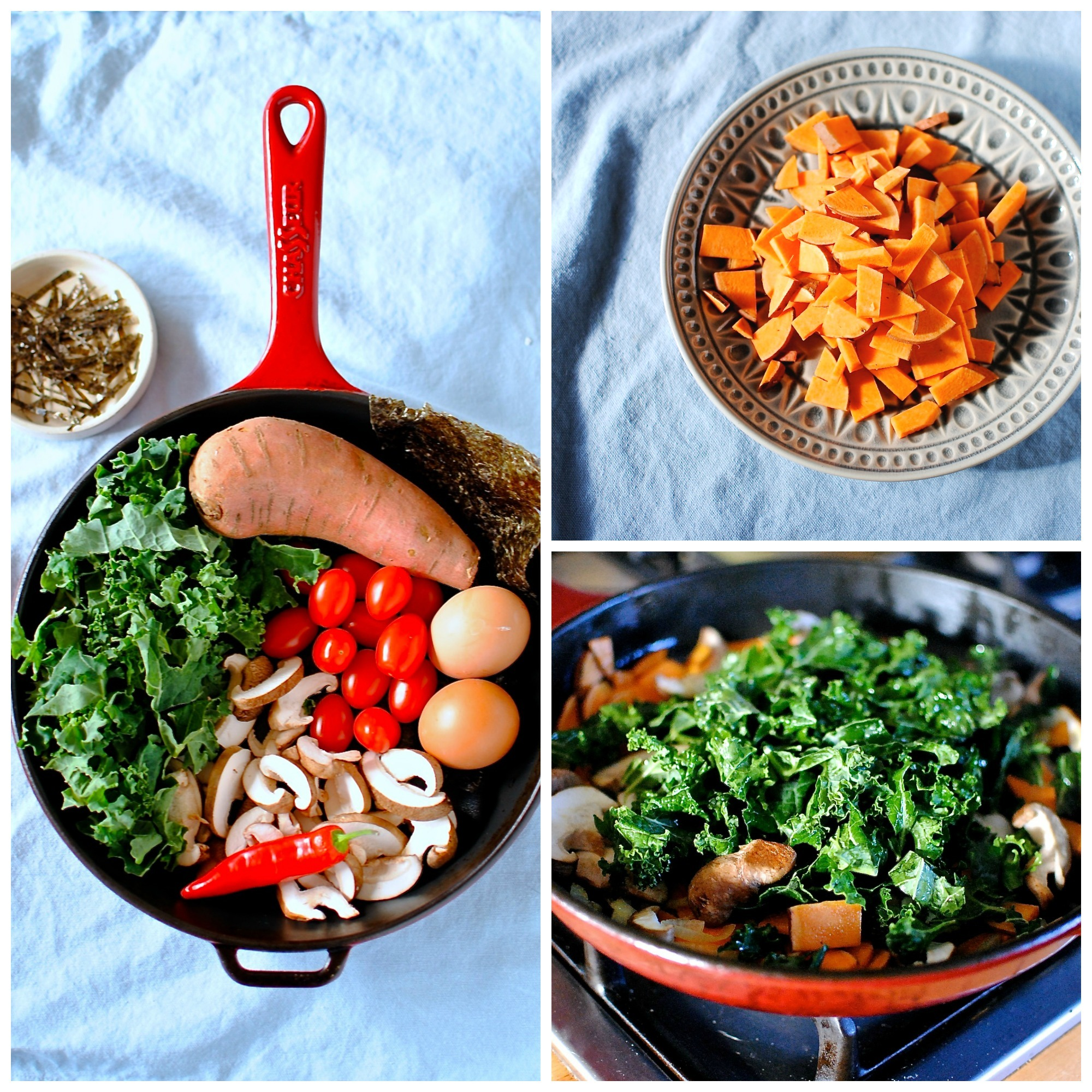 Japanese Breakfast Skillet with Warm Tomato, Ginger and Miso Sauce