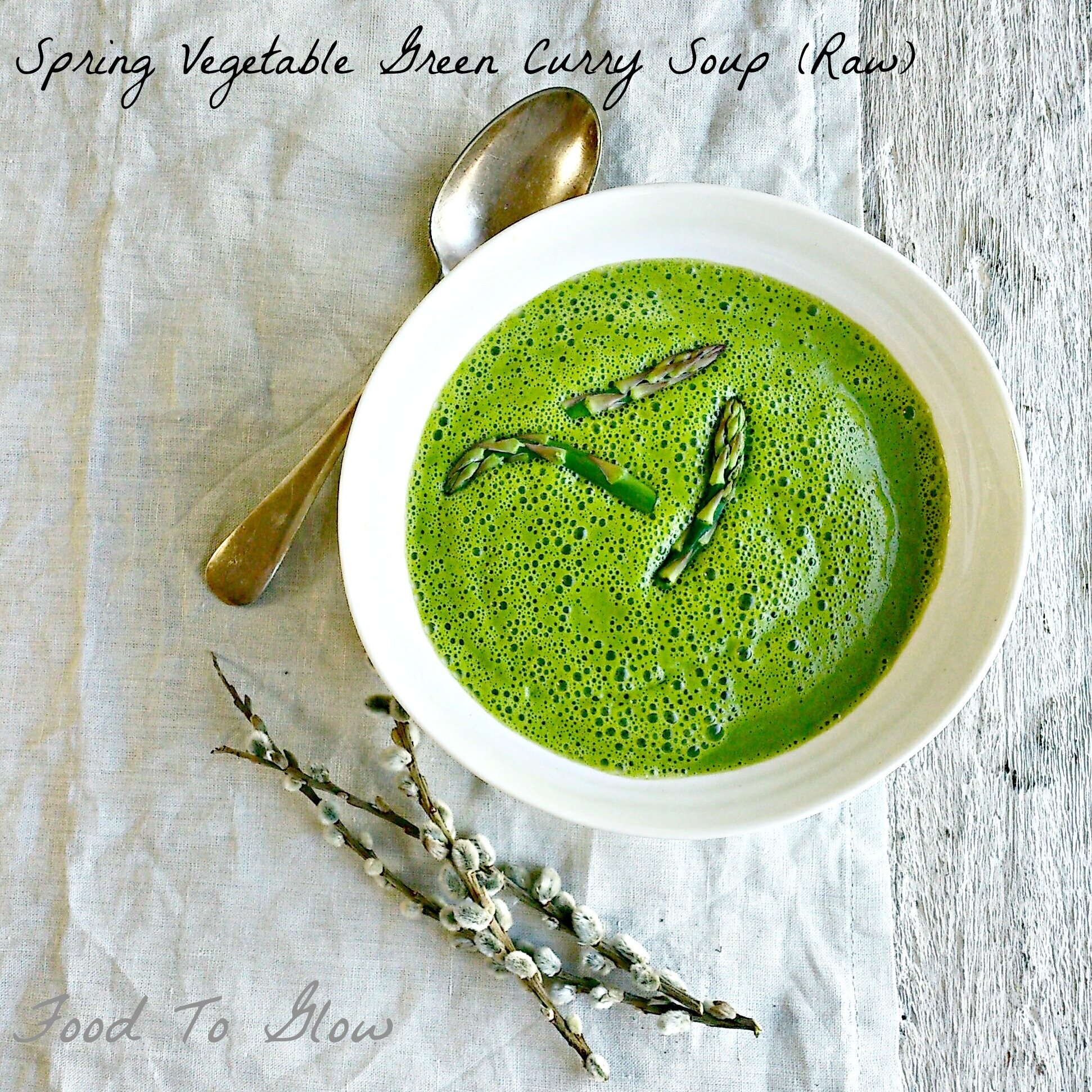 Spring Vegetable Green Curry Soup (Raw)