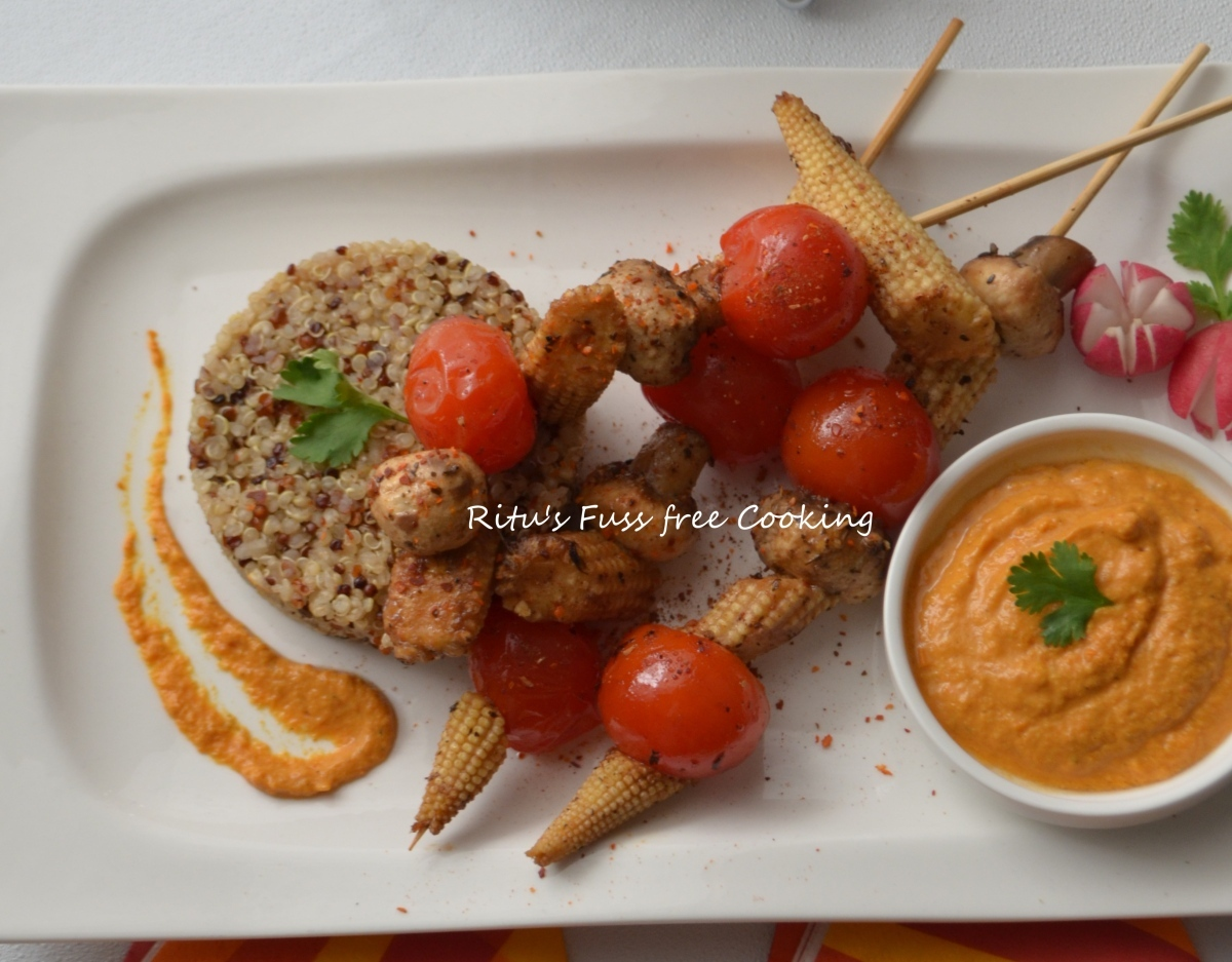 BABY CORN MUSHROOM CHERRY TOMATOES ON SKEWER WITH STEAMED QUINOA