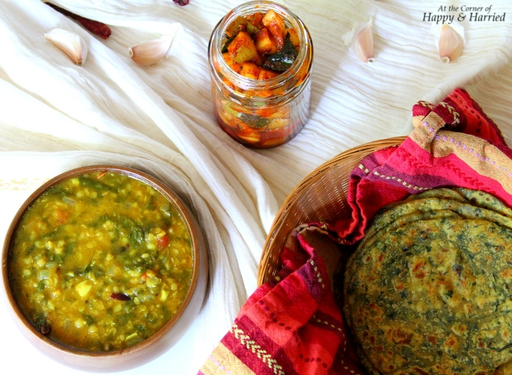 Wholesome Indian Meal {Aloo-Palak Paratha, Palak Dal & Quick Aam Achar}