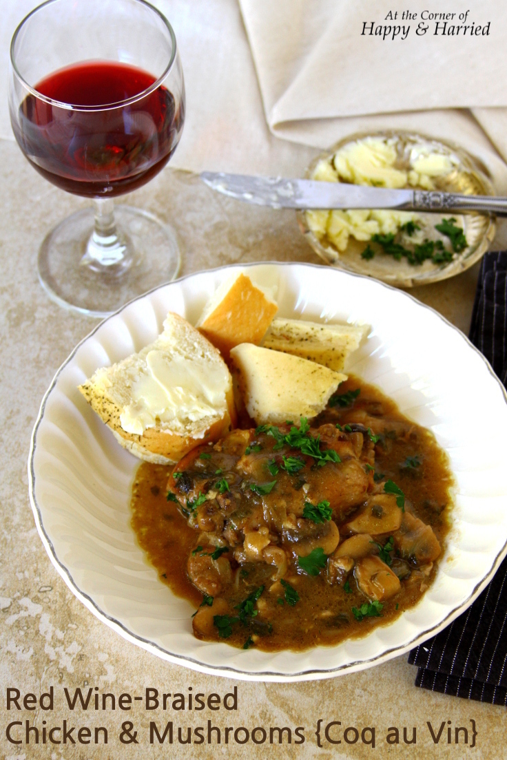 Red Wine-Braised Chicken And Mushrooms {Almost Coq Au Vin}