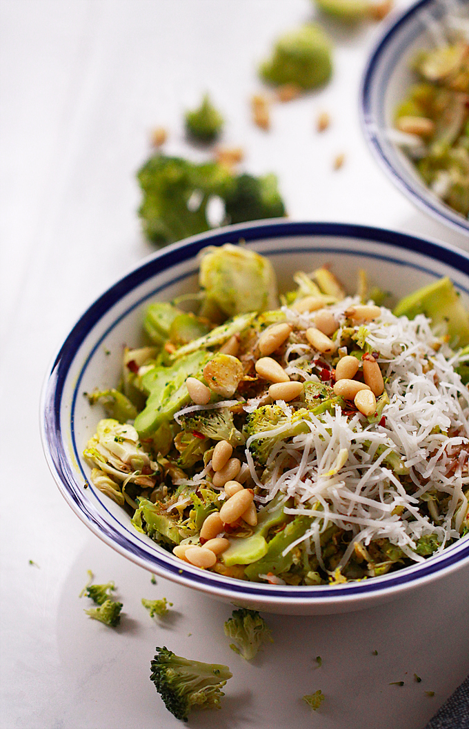 Brussels Sprout & Broccoli Salad with Goat Cheese & Pine Nuts
