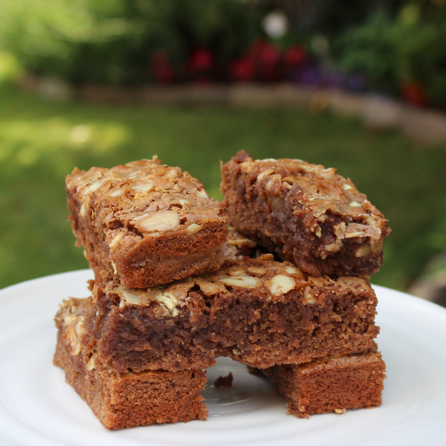 Gluten free milk and white chocolate brownies