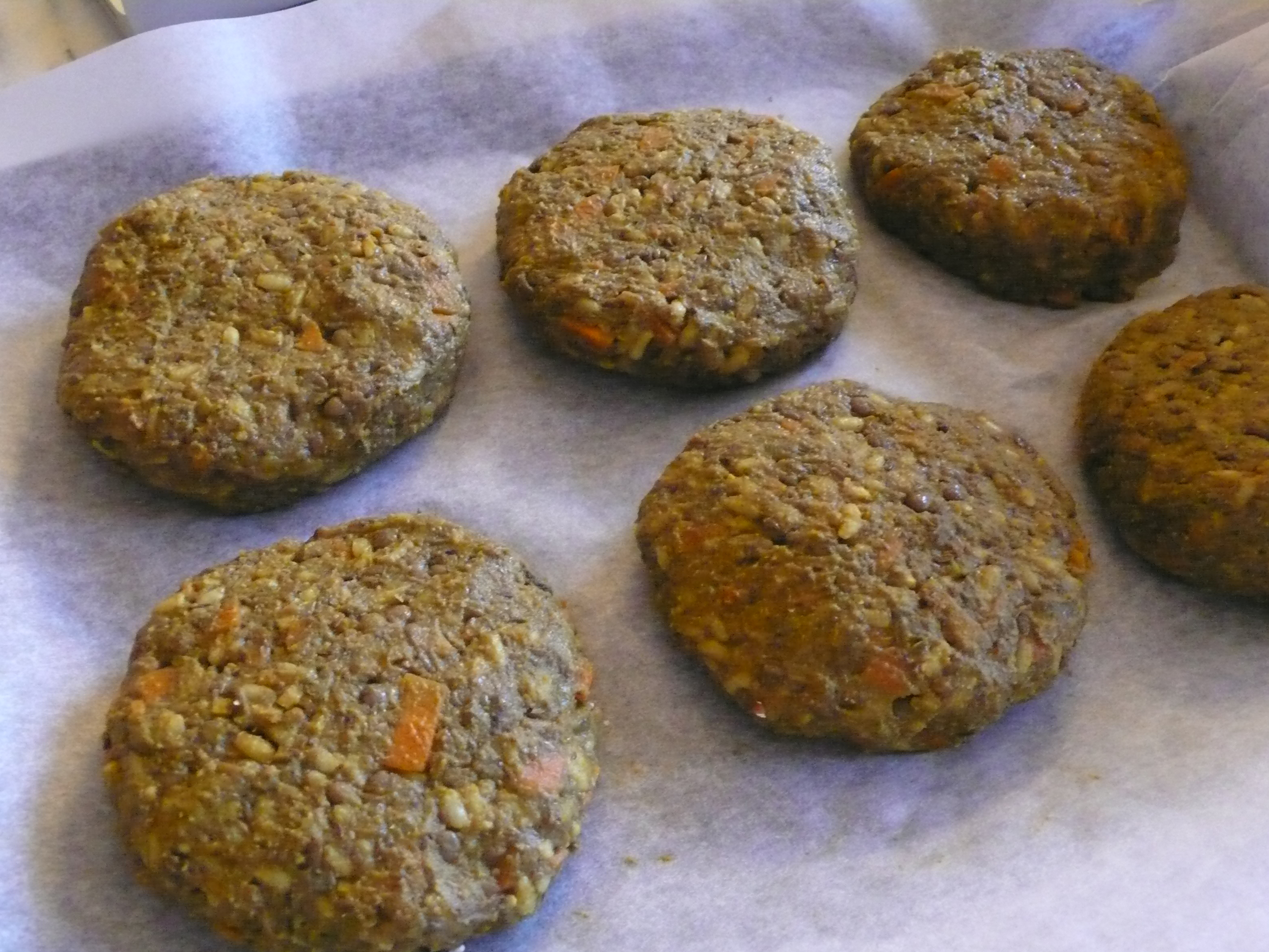 Curried Lentil, Rice and Carrot Burgers