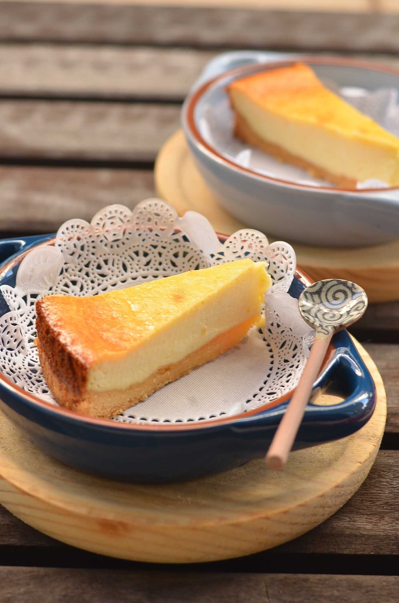 Baked yuzu yogurt cheesecake