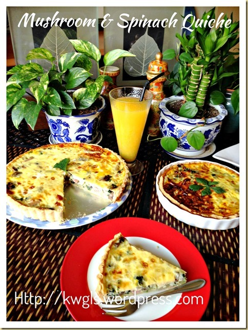 Mushrooms and Spinach Quiche (蘑菇菠菜乳蛋饼)