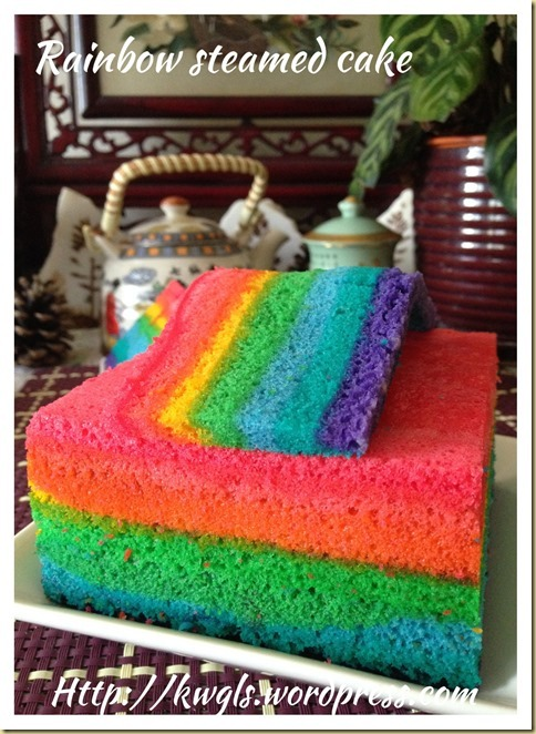 Rainbow Steamed Sponge Cake (彩虹椰奶鸡蛋糕)