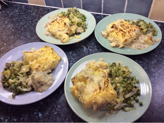 Fish pie and buttery greens 87p per portion