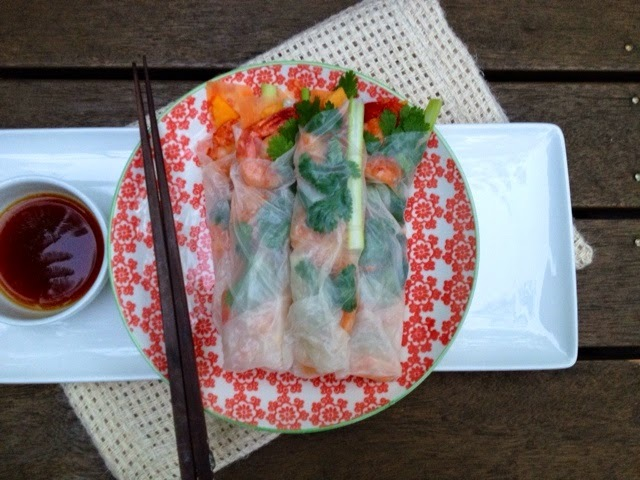 Prawn and Paw Paw Rice Paper Rolls with Dipping Sauce