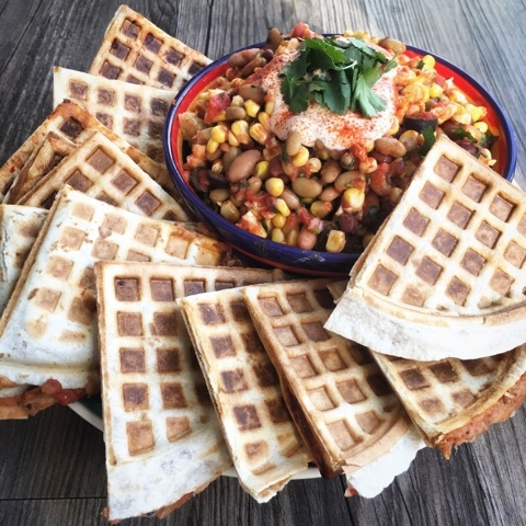 Quesadilla Waffles with a Mexican Bean Salad