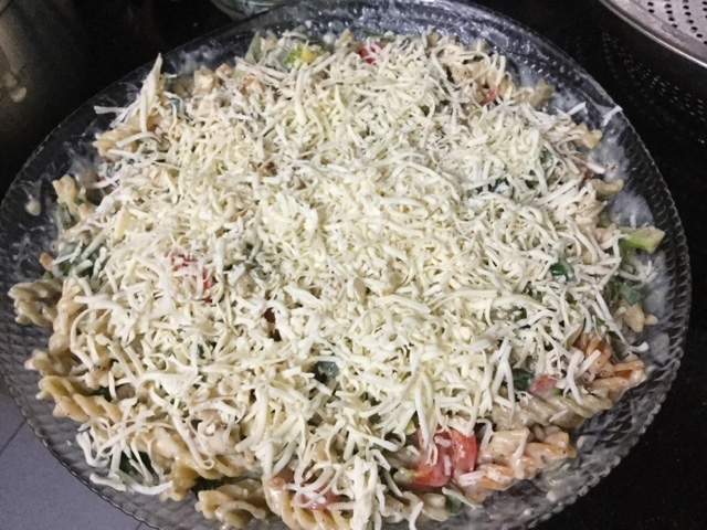 Vegetable Pasta in Cheesy White Sauce -Ultimate Comfort Food with Vegetarian Masala Maggi Magic Cubes.