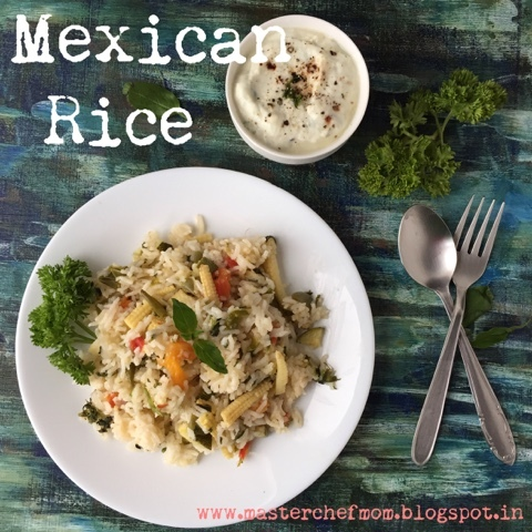 Mexican Rice | How to make Mexican Rice | Stepwise pictures