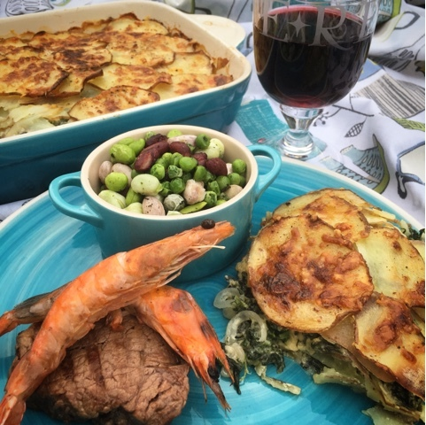 Potato, Gruyere and Spinach Dauphinoise - the perfect accompaniment for Steak