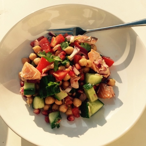 Hairy Dieters, Chickpea, Hot-Smoked Salmon and Pomegranate salad