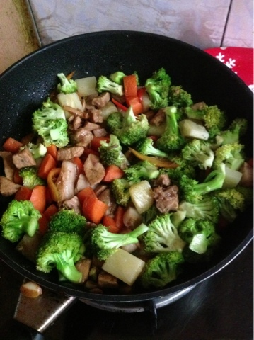 Stir fried pork and veggies in hoisin and oyster sauce