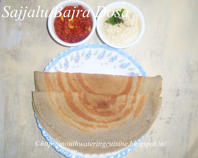 Bajra Dosa Recipe -- Sajjalu Dosa Recipe -- How to make Dosa with Pearl Millet