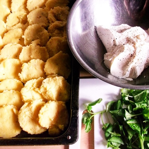 polenta gnocchi with a super green watercress, spinach and rocket Florentine sauce