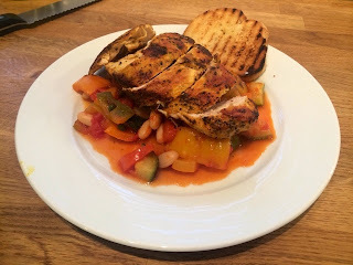 Smoky Chicken with Spicy Ratatouille and Giant Croutons