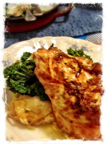 Mustard Chicken, Curly Kale & Dauphinoise Spuds