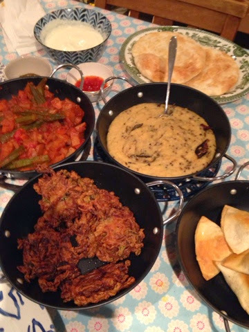 Okra curry, Tara dhal, onion bhajis. And some other stuff
