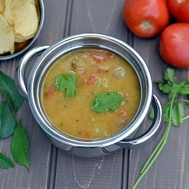Masoor Dal Sambar (Indian Style Red Lentil Stew)