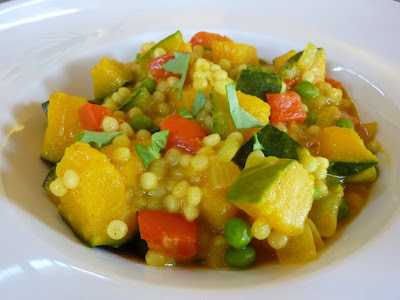 Vegan Kabocha Squash Coconut Curry With Peas, Red Bell Pepper And Israeli Couscous -