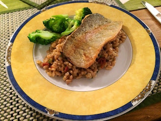 Rachael's Recipes - Sundried Tomato Pearl Barley Risotto with Trout & Steamed Broccoli