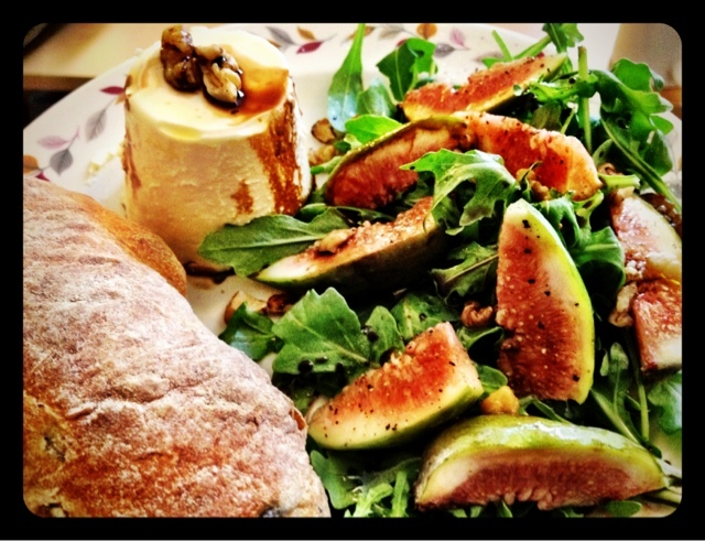 Savoury Panna Cotta with Fig & Walnut Salad