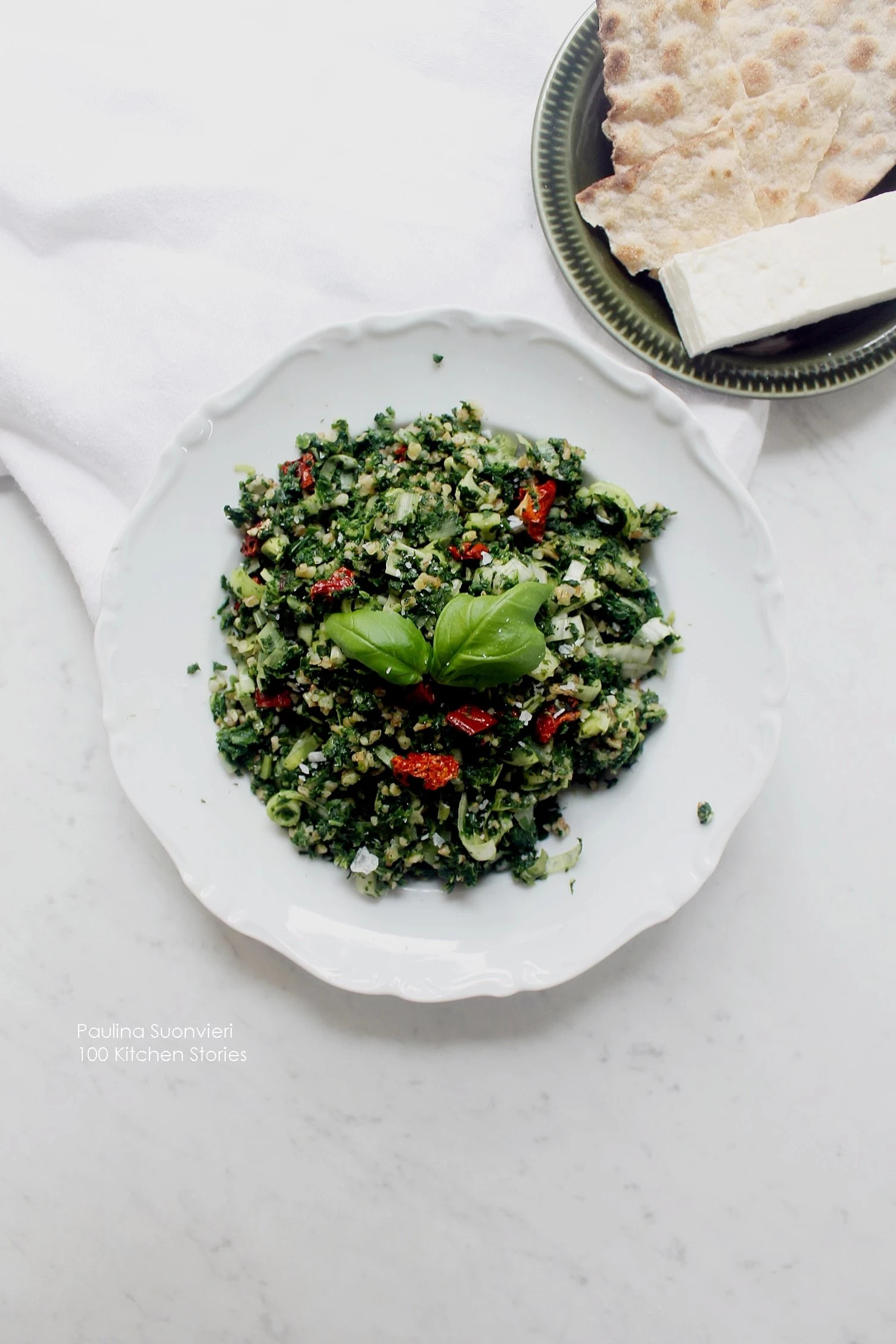 Spinach Bulgur with Sun Dried Tomatoes and Fresh Basil