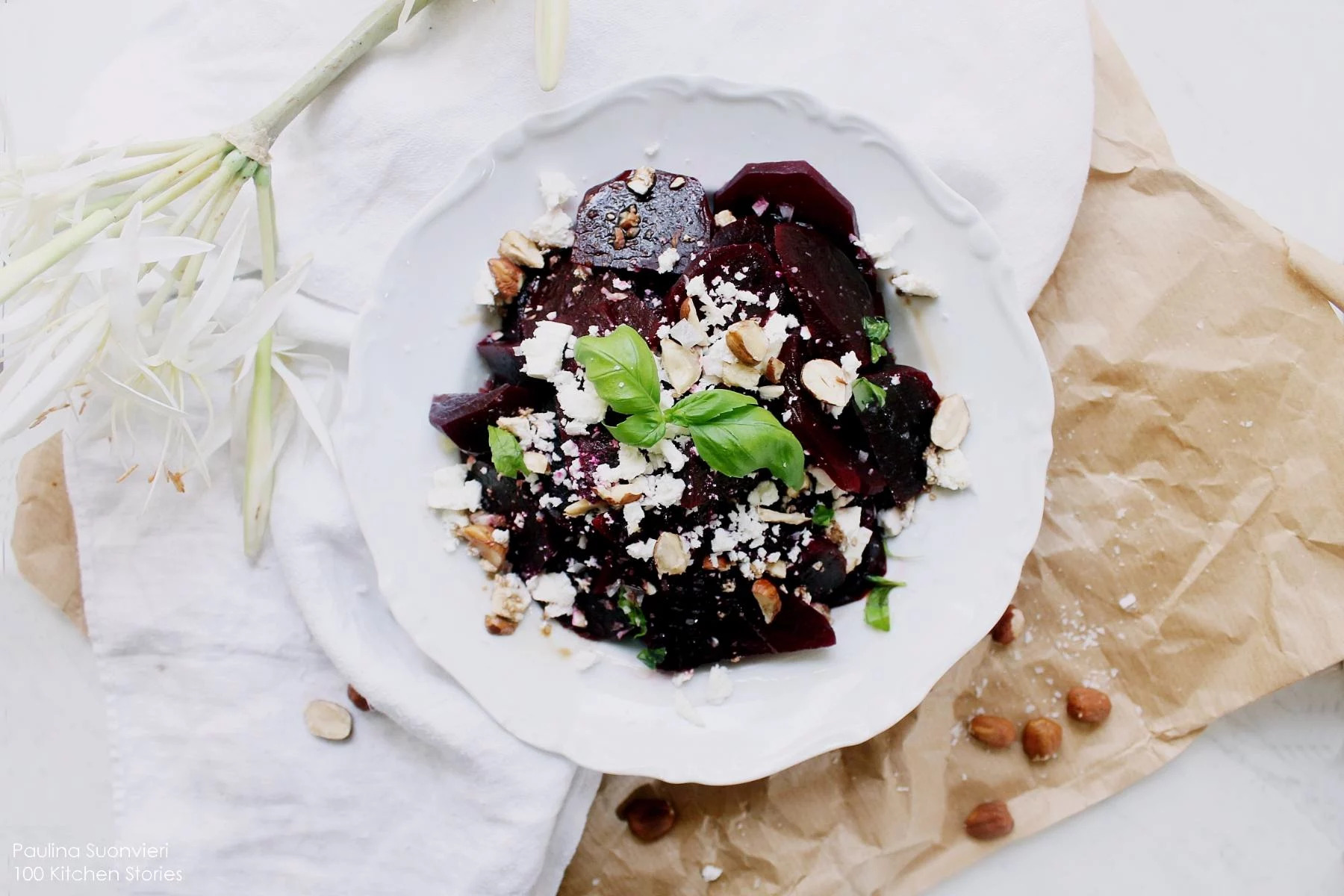 Beetroot Salad with Feta Cheese, Hazelnuts and Fresh Basil