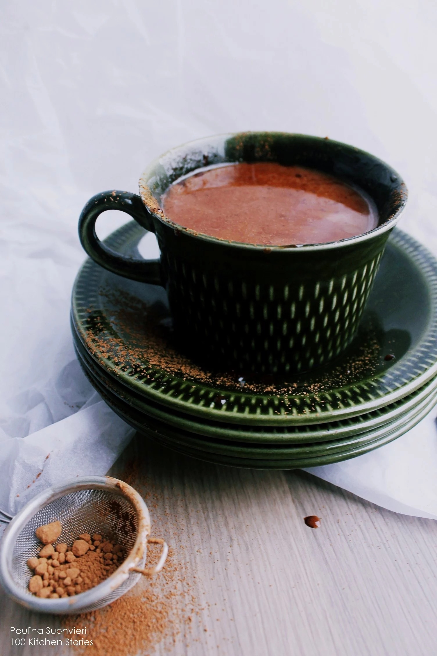 Vegan Hot Cocoa with Maca and Chocolate Sauce