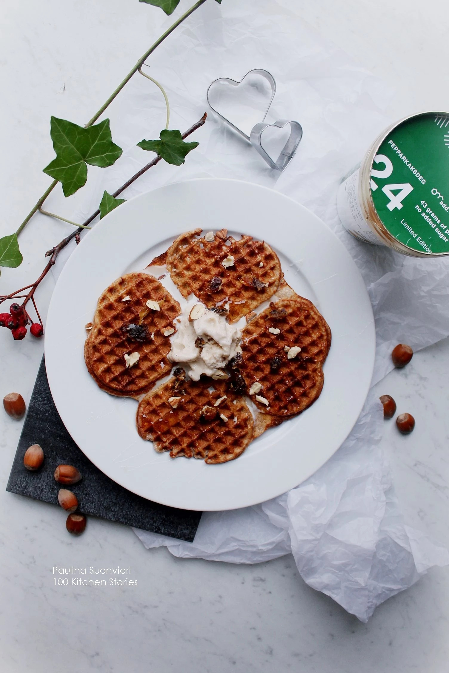 Gluten Free Oat Waffles with Gingerbread Ice Cream