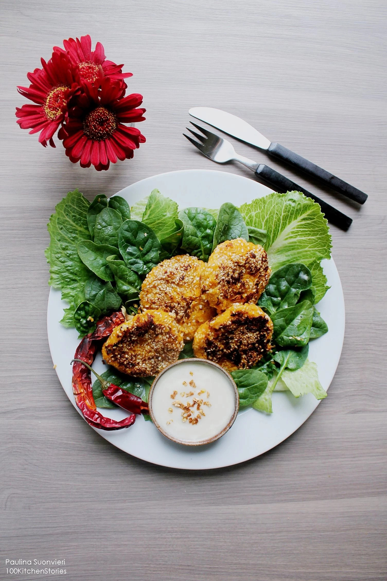 Butternut Squash Sesam Seed Fritters with ​Vegan Chili-Mayonnaise