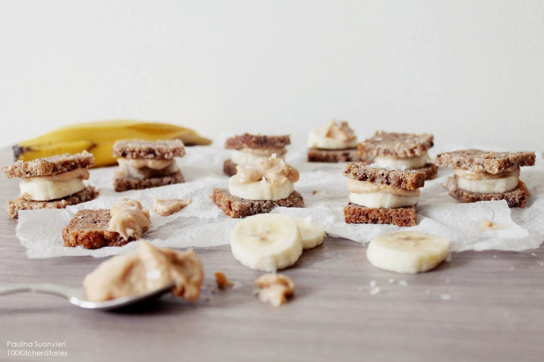 """Sandwich Cakes"" with Banana, Sea Salt & PB- Caramel Spread"