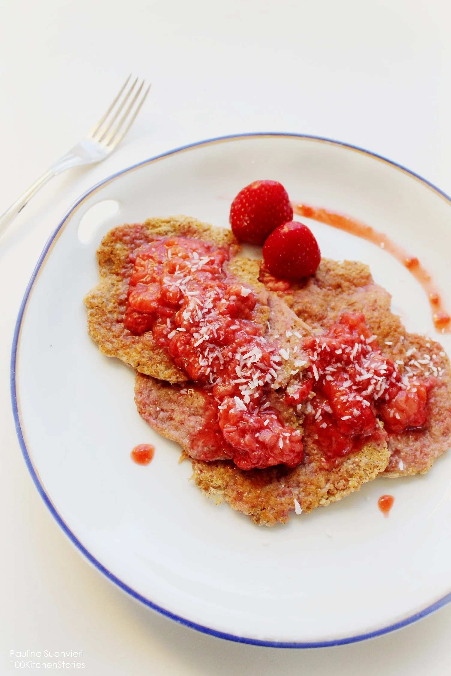 Vegan Chickpea Pancakes w Homemade Strawberry Sauce