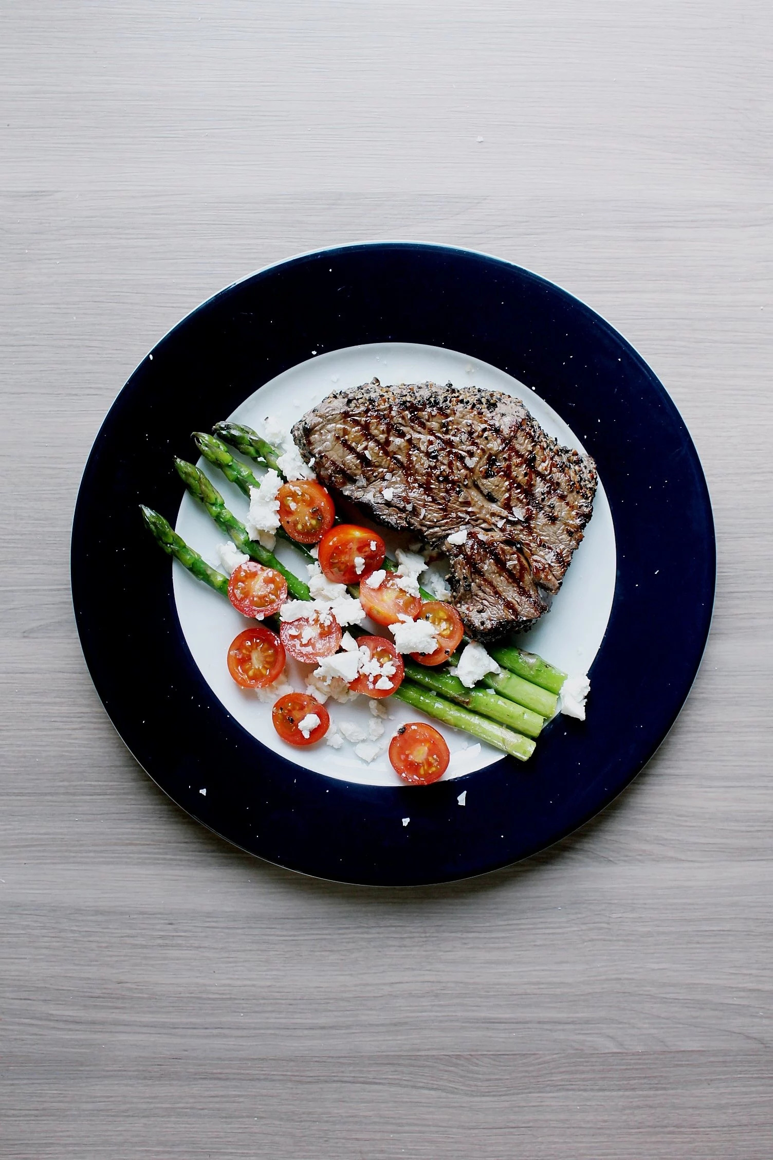 Pepper Steak with Asparagus, Cherry Tomato & Feta Cheese Salad