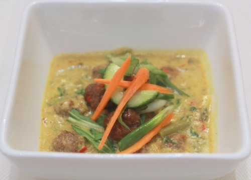 Spicy Thai Soup with Meatballs and Pickled Veg