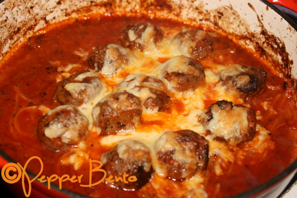 Pepper's One Pot Spicy Spaghetti & Meatballs Recipe!